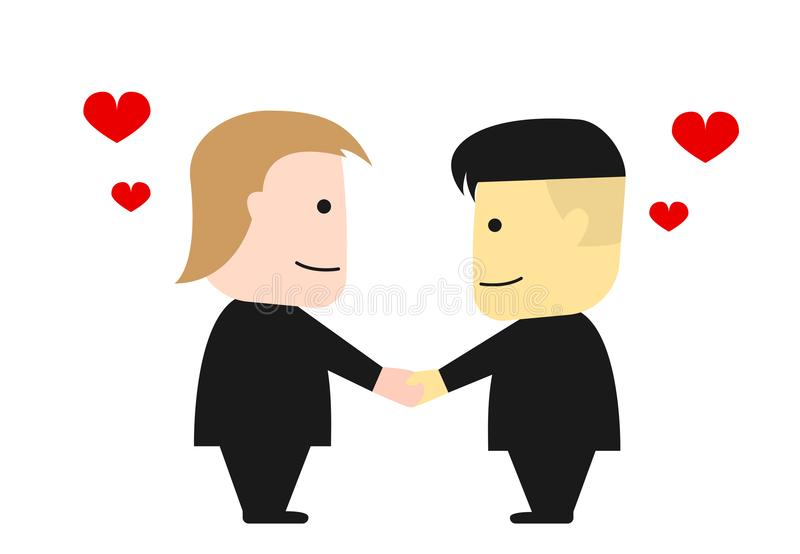 Donald Trump and Kim Jong Un shake hands, vector stock illustration