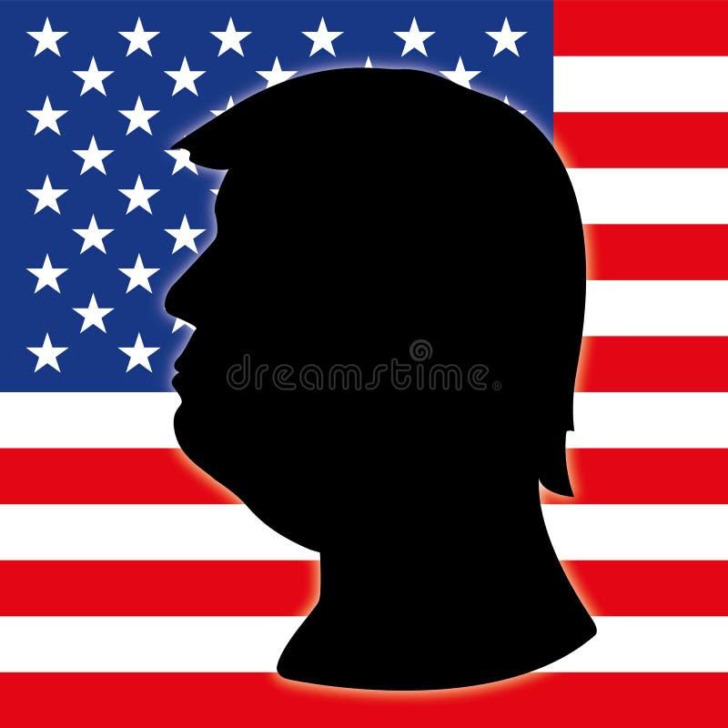 Donald Trump kontur med USA-flaggan royaltyfri illustrationer