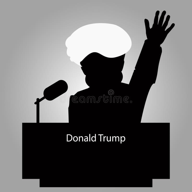 Donald Trump la tribuna una silueta un icono para la entrevista, mano para arriba altavoz de la rueda de prensa El micrófono en e libre illustration