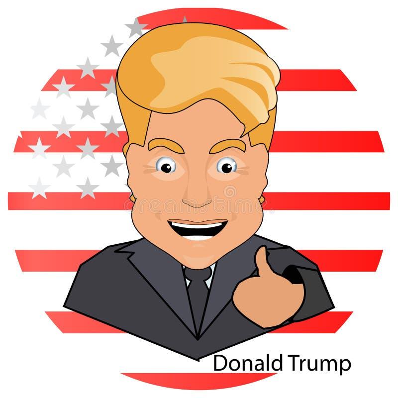 Donald Trump le président un doigt de sourire vers le haut des élections de victoire de 2016 sur le fond le drapeau a stylisé l'A illustration libre de droits