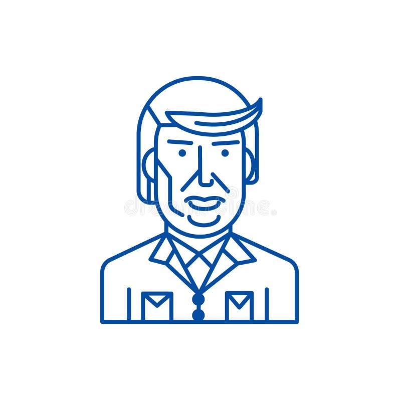 Donald trump line icon concept. Donald trump flat  vector symbol, sign, outline illustration. vector illustration