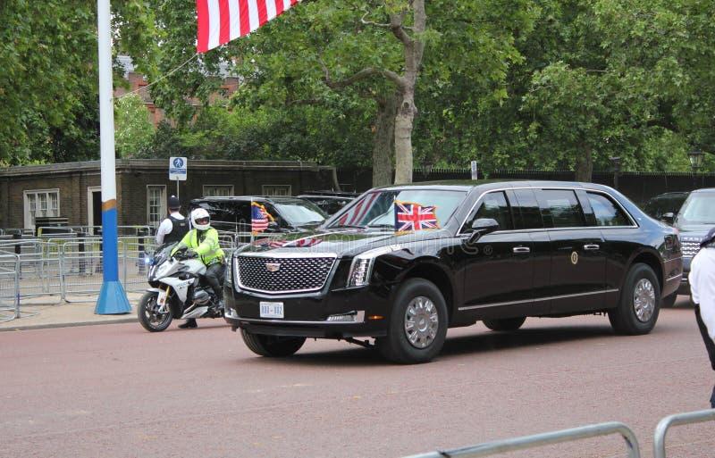 Donald Trump, Londres, R-U, photo courante, 3/6/2019 - Donald Trump quittant le Palais de Buckingham par jour BRITANNIQUE de visi images stock