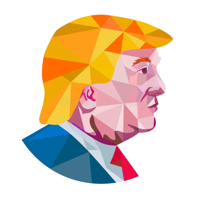 Donald Trump Low Polygon. Illustration showing Republican Party presidential president 2016 candidate Donald John Trump side profile done in low polygon art