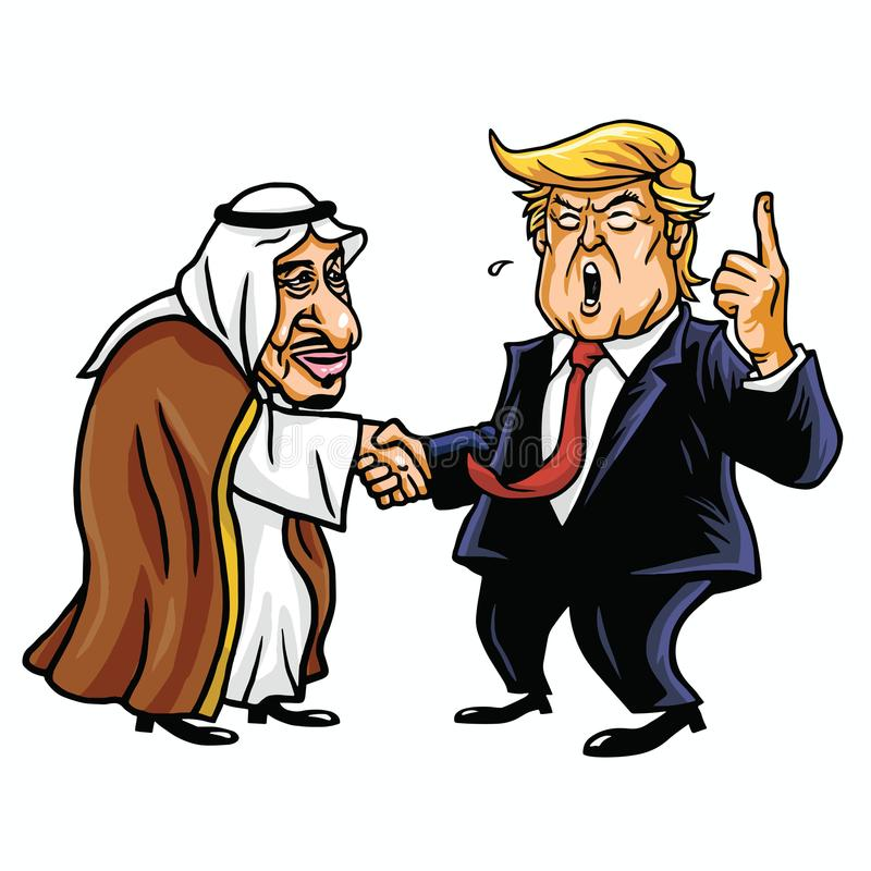 Donald Trump med konungen Salman Redaktörs- tecknad filmkarikatyrillustration Oktober 26, 2017