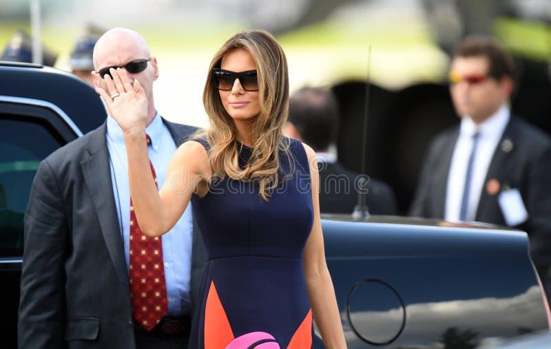 Donald Trump and Melania Trump. WARSAW, POLAND - JUNE 6, 2017: Donald Trump, Melania Trump with visit in Poland o/p Melania Trump stock image