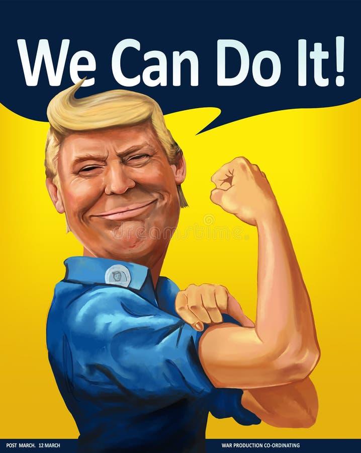 Donald Trump - nós podemos fazê-lo! retrato temático dos desenhos animados ilustração do vetor