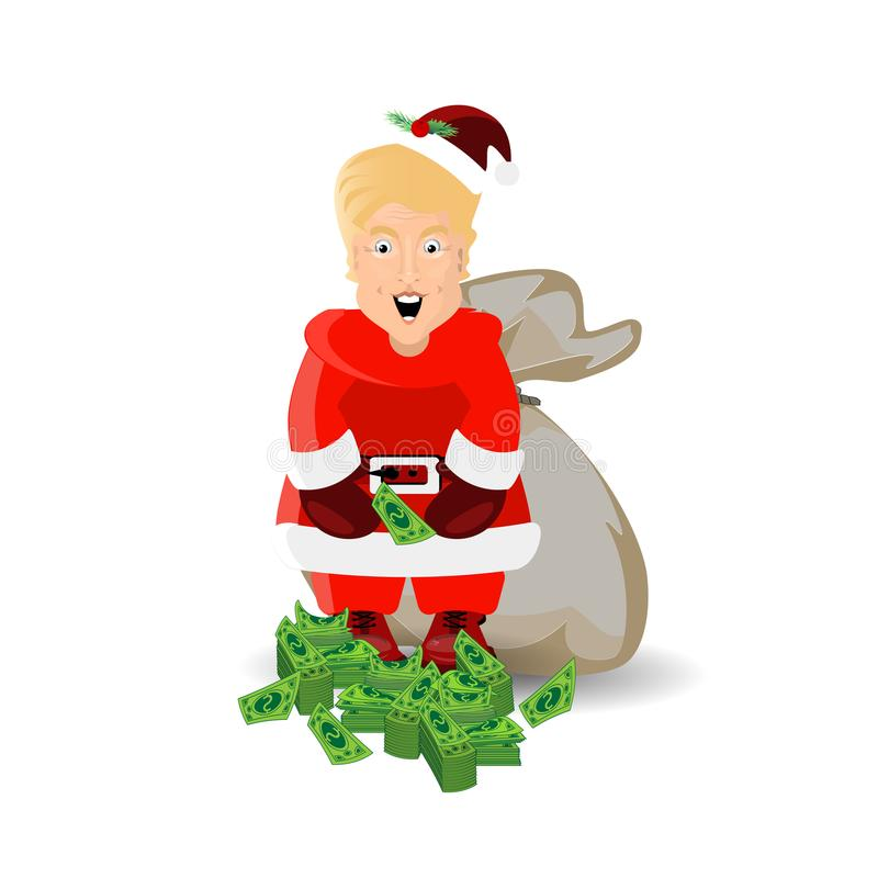 Donald Trump na imagem de Santa Claus Vetor ilustração stock