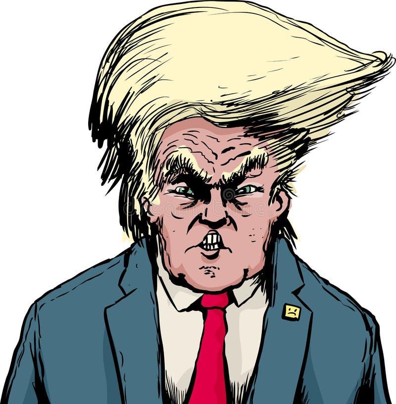 Donald Trump no penteado Bouffant sobre o branco ilustração do vetor