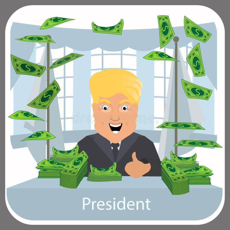 Donald Trump no presidente uma cadeira no fundo claro Vetor do EPS 10 da ilustração Na tabela sobre muitos dinheiro dos dólares a ilustração royalty free