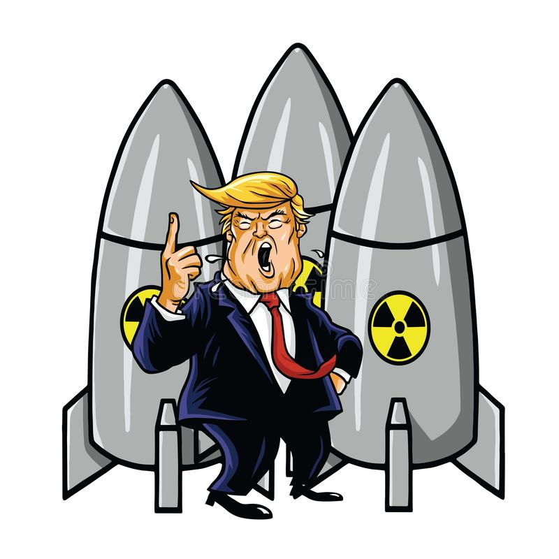 Donald Trump with Nuclear Weapons. Cartoon Vector Illustration. Drawing vector illustration