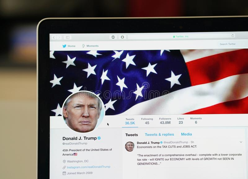 Donald Trump official twitter account page stock photography