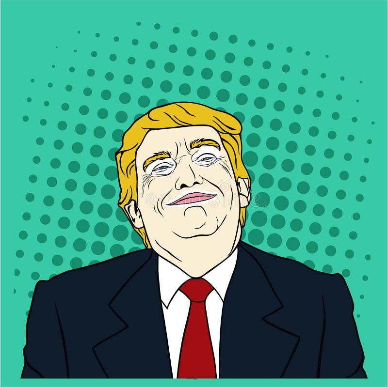Donald Trump Pop Art lägenhetdesign, vektor, illustration , Ledare vektor illustrationer