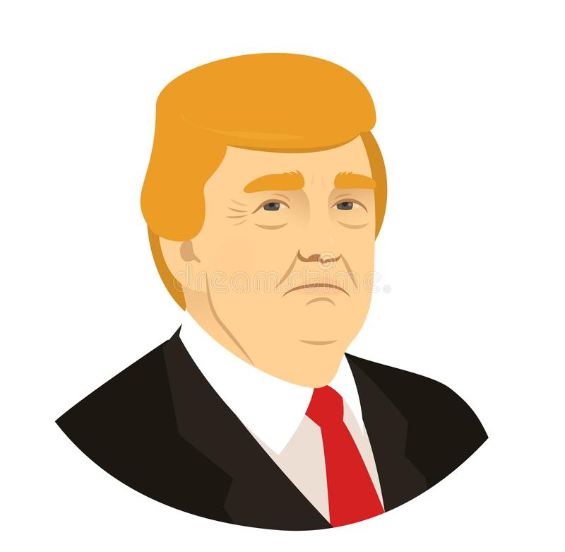 Donald Trump portrait, president of the USA, March 18, 2018. stock illustration