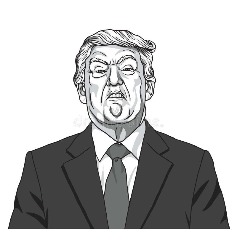 Donald Trump Portrait Vector blanco y negro del ejemplo de la caricatura 23 de septiembre de 2017 stock de ilustración