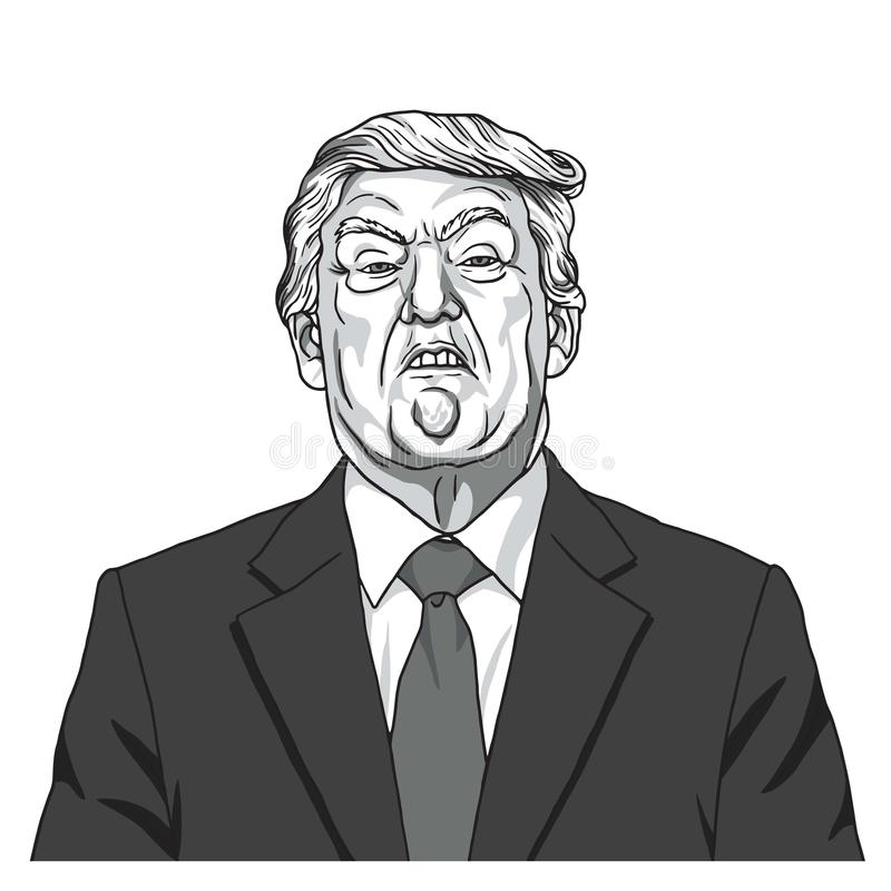 Donald Trump Portrait Vetor preto e branco da ilustração da caricatura 23 de setembro de 2017 ilustração stock