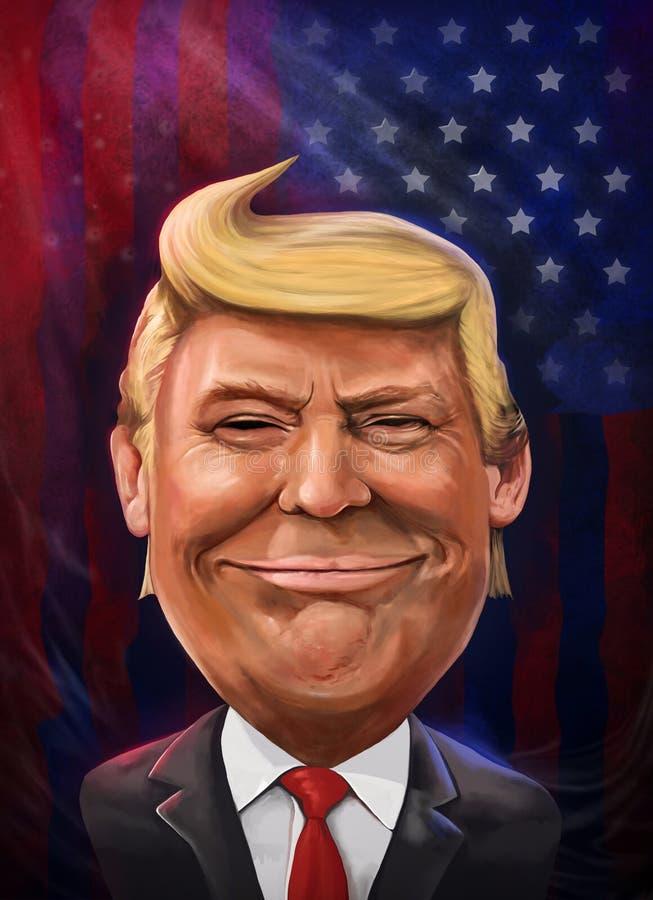 Donald Trump, président des Etats-Unis - portrait de bande dessinée illustration libre de droits