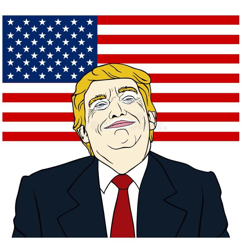 Donald Trump President do Estados Unidos da América com fundo da bandeira, projeto liso, vetor, ilustração ilustração stock