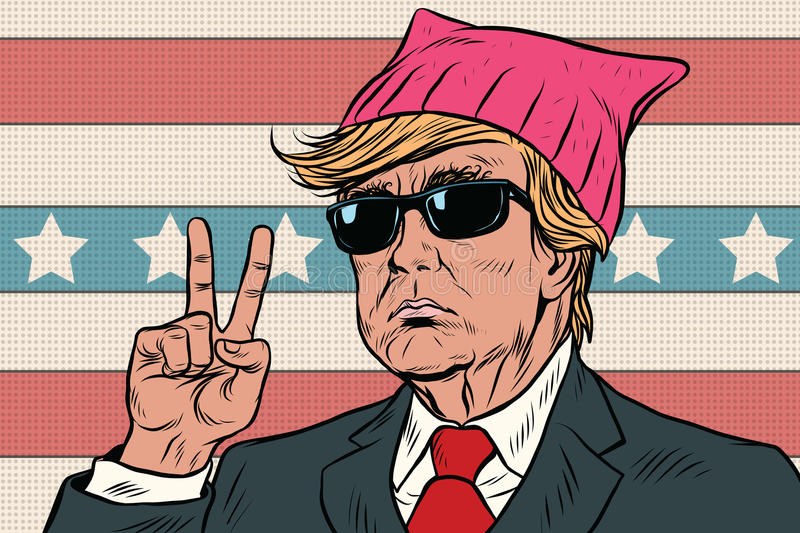 Donald Trump President, feminist pink hat vector illustration