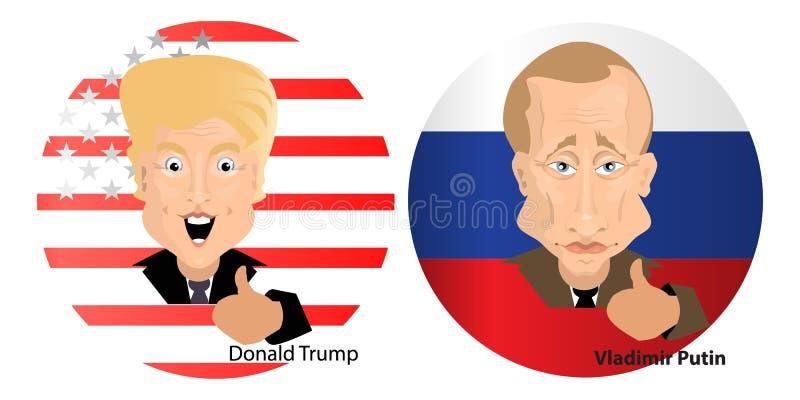 Donald Trump President Putin Vladimir ilustração do vetor