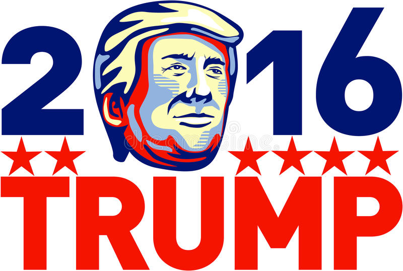 Donald Trump 2016 President Retro. Illustration showing American real estate magnate, television personality, politician and Republican 2016 presidential stock illustration