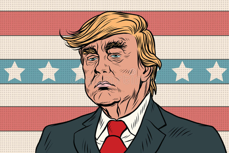 Donald Trump President of the United States cartoon pop art retr. Donald Trump President of the United States. Pop art vintage retro cartoon illustration vector stock illustration