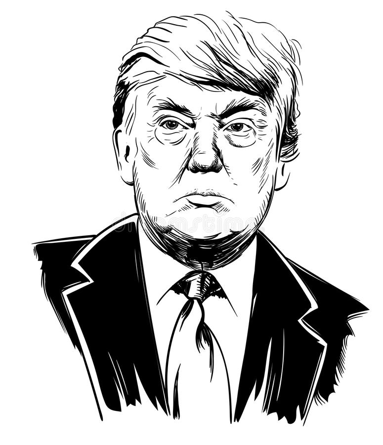 Donald Trump, president of the united states. October 22, 2017: Portrait of Donald Trump. Vector illustration, sketch by hand. Editorial use only vector illustration