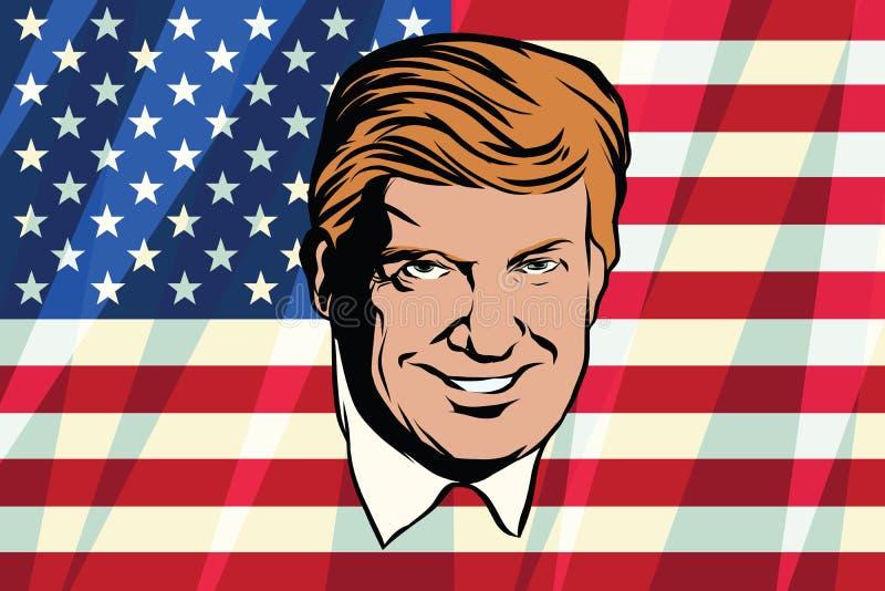 Donald Trump President of the United States. Retro comic book style pop art retro illustration color vector stock illustration