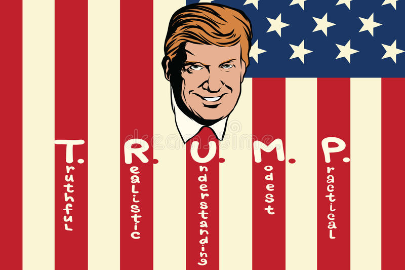 Donald Trump President of the United States. Truthful realistic understanding modest practical. Retro comic book style pop art retro illustration color vector vector illustration