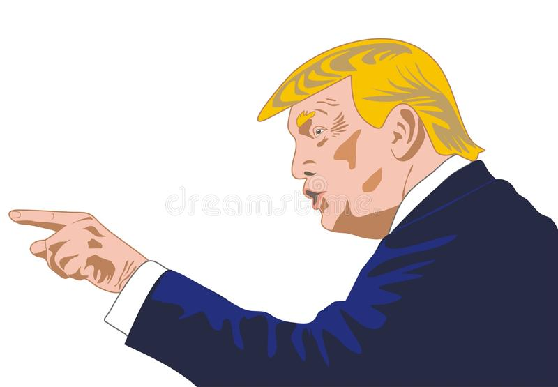 Donald Trump President of the USA stock illustration