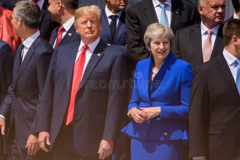 Donald Trump, presidente de los Estados Unidos de América y Theresa May, primer ministro de Reino Unido fotos de archivo libres de regalías