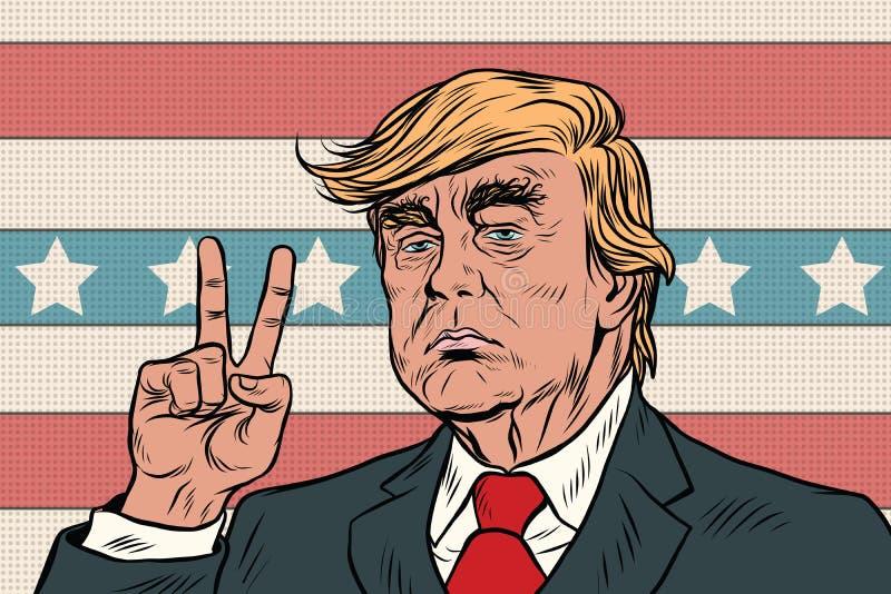 Donald Trump Presidente, gesto de la victoria stock de ilustración