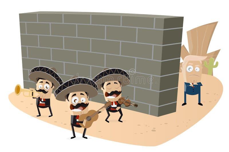 Donald Trump que está atrás de uma parede com a faixa mexicana do mariachi na parte dianteira ilustração royalty free