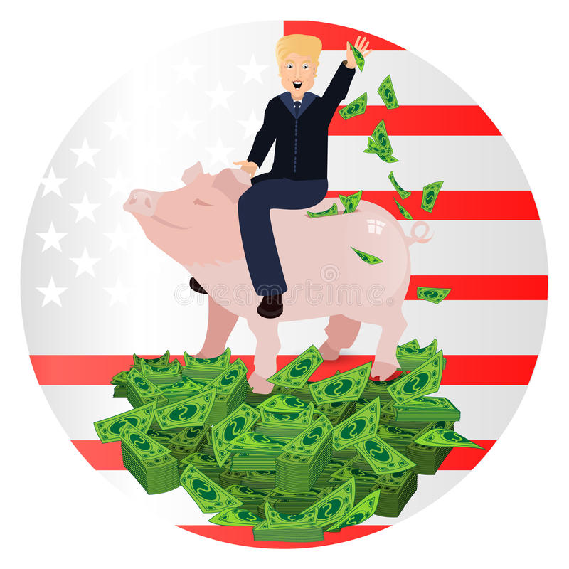 Donald Trump que monta um mealheiro do porco ilustração stock