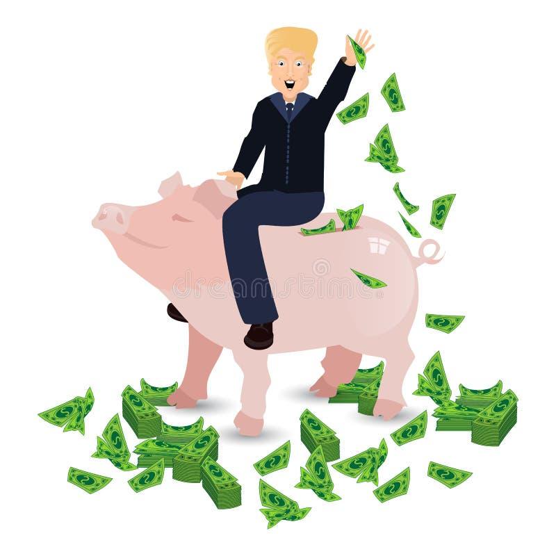 Donald Trump que monta um mealheiro do porco em um branco ilustração stock