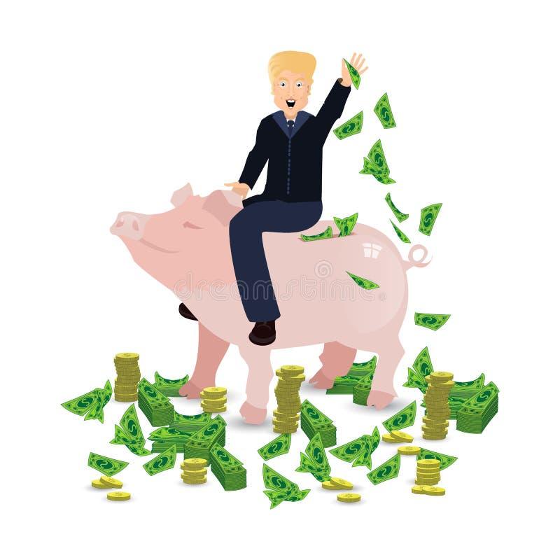 Donald Trump que monta um mealheiro do porco em um branco ilustração royalty free