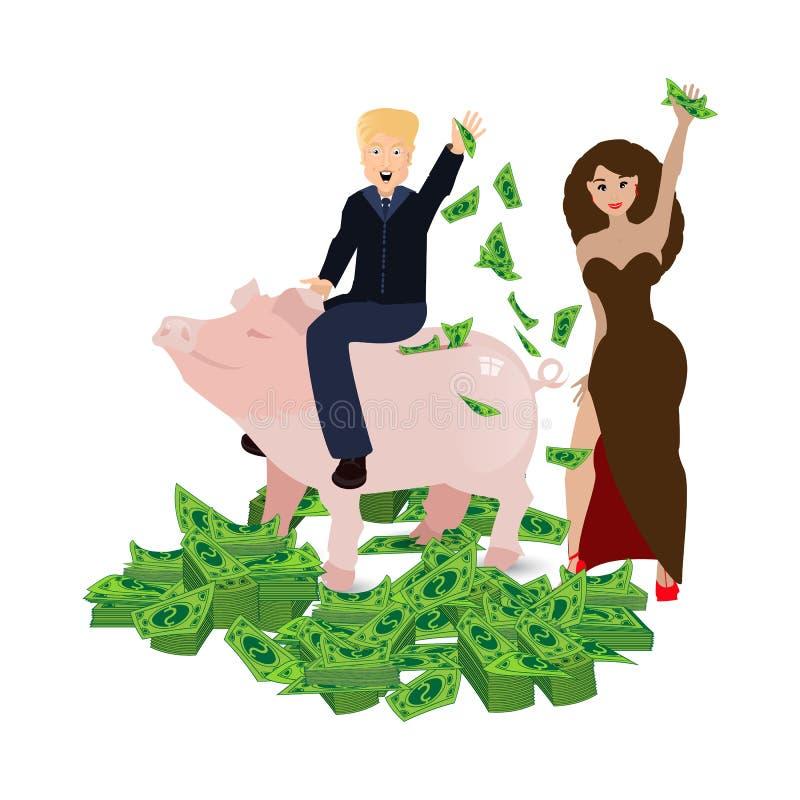 Donald Trump que monta um mealheiro do porco em um branco ilustração do vetor
