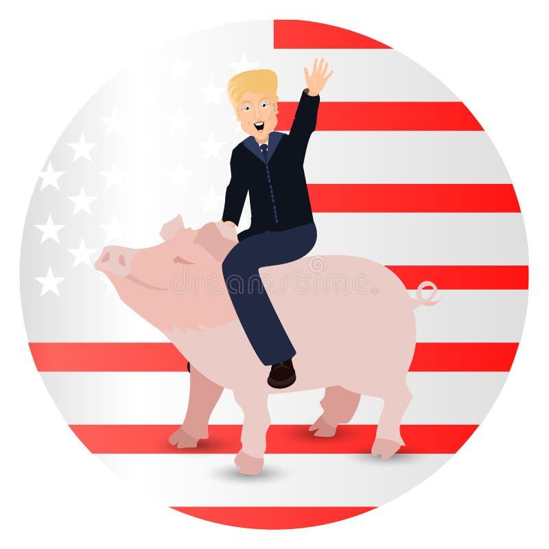Donald Trump que monta um porco um rosa selvagem ilustração do vetor