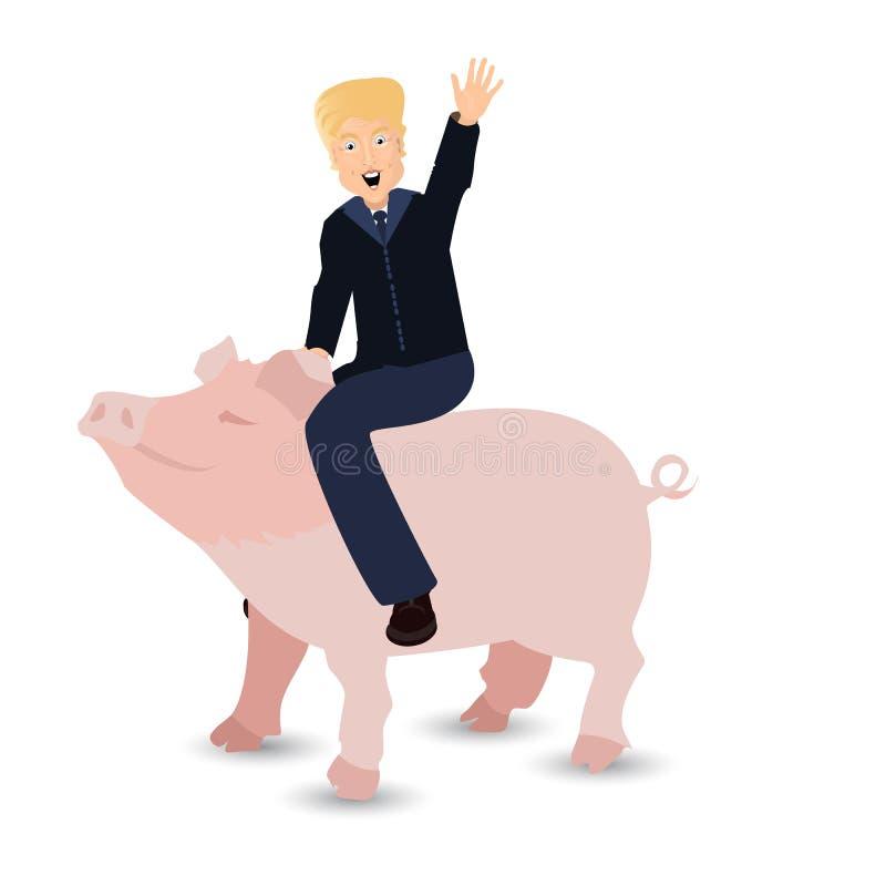 Donald Trump que monta um porco um rosa selvagem sobre ilustração do vetor
