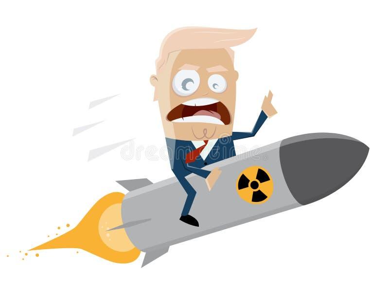 Donald Trump que monta uma bomba atômica ilustração royalty free
