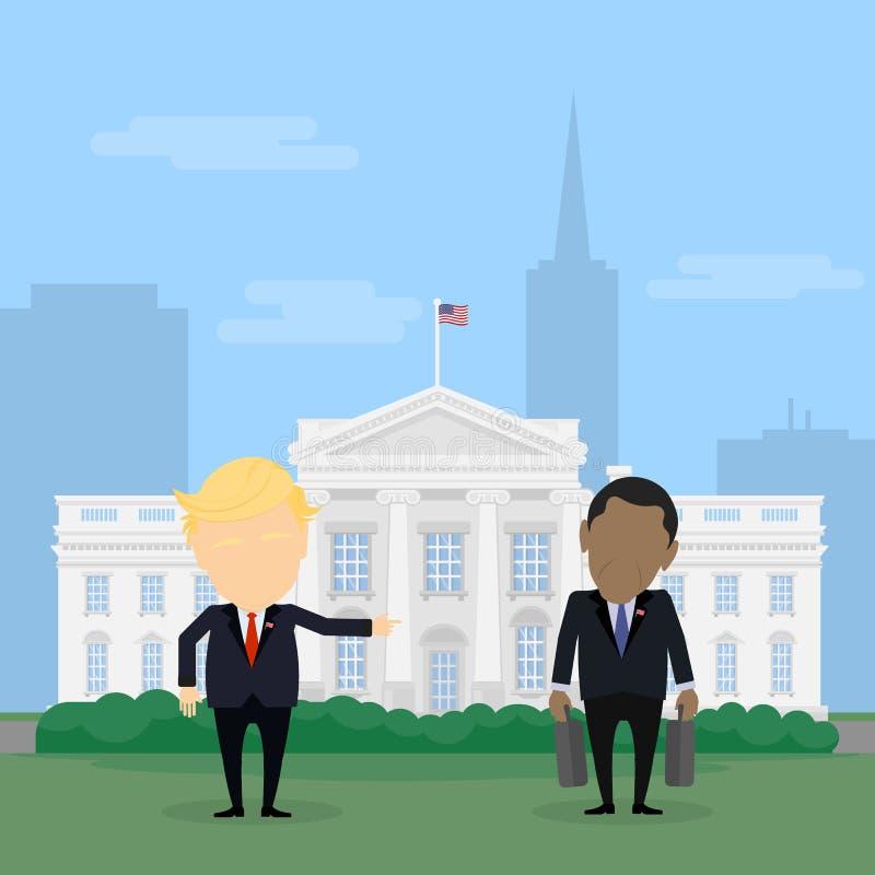 Donald Trump que retrocede fora Barack Obama ilustração stock