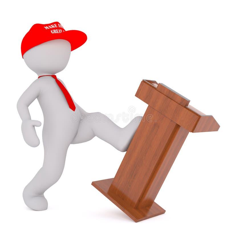 Donald Trump que retrocede o pódio ilustração stock
