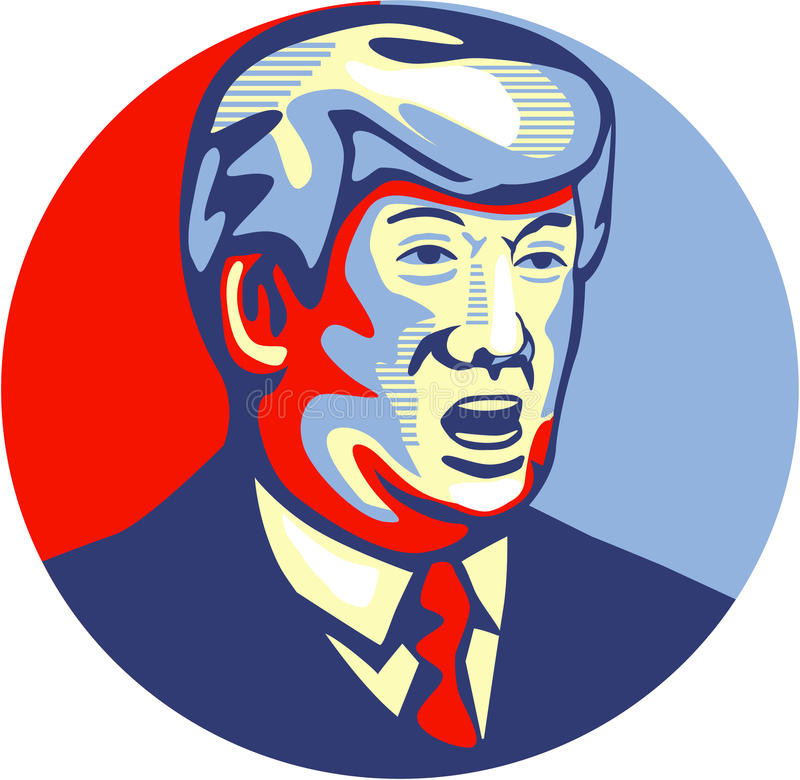 Donald Trump 2016 Republican Candidate. Illustration showing American real estate magnate, television personality, politician and Republican 2016 presidential