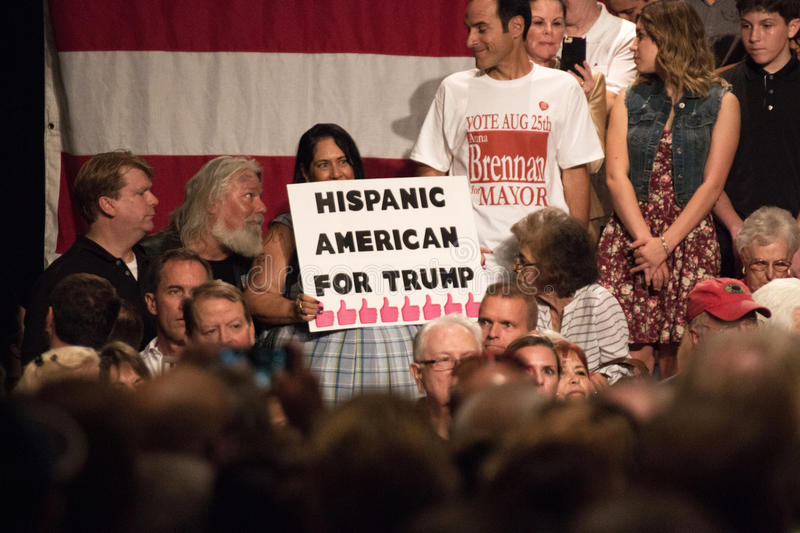 Donald Trump's first Presidential campaign rally in Phoenix. Donald Trump held his first campaign rally, since announcing his Republican candidacy for President stock image