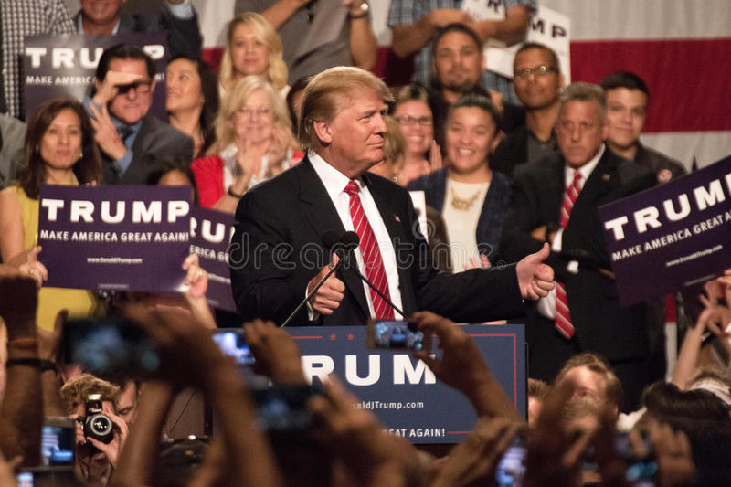 Donald Trump's first Presidential campaign rally in Phoenix. Donald Trump held his first campaign rally, since announcing his Republican candidacy for President royalty free stock image