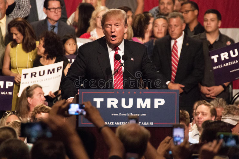 Donald Trump's first Presidential campaign rally in Phoenix. Donald Trump held his first campaign rally, since announcing his Republican candidacy for President stock photos