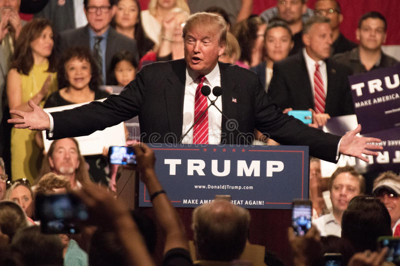Donald Trump's first Presidential campaign rally in Phoenix. Donald Trump held his first campaign rally, since announcing his Republican candidacy for President stock photography