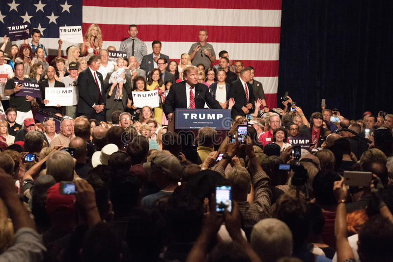 Donald Trump's first Presidential campaign rally in Phoenix. Donald Trump held his first campaign rally, since announcing his Republican candidacy for President royalty free stock images