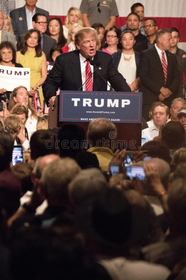 Donald Trump's first Presidential campaign rally in Phoenix. Donald Trump held his first campaign rally, since announcing his Republican candidacy for President stock photo
