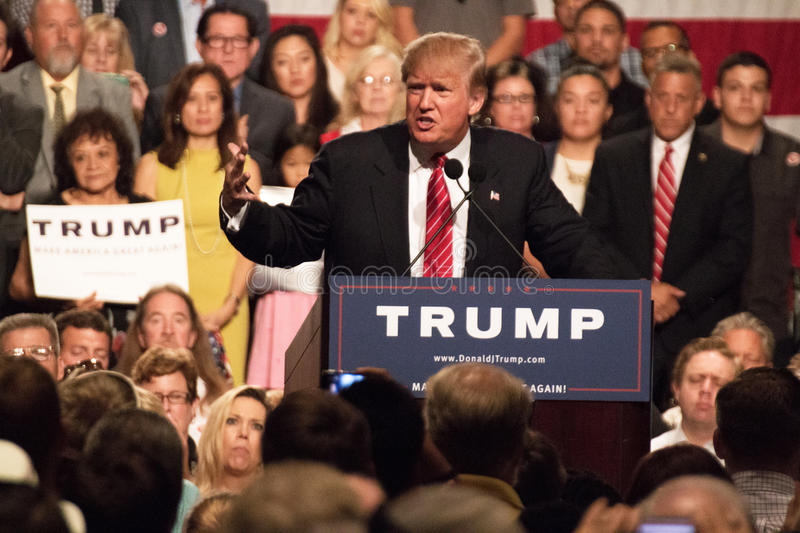 Donald Trumps first Presidential campaign rally in Phoenix. Donald Trump held his first campaign rally, since announcing his Republican candidacy for President stock image