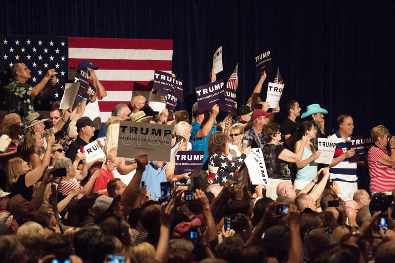 Donald Trump's first Presidential campaign rally in Phoenix stock images